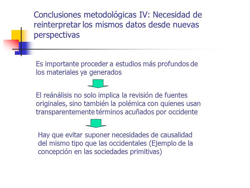 Conclusiones metodológicas IV: Necesidad de reinterpretar los mismos datos desde nuevas perspectivas El reánálisis no solo implica la revisión de fuen