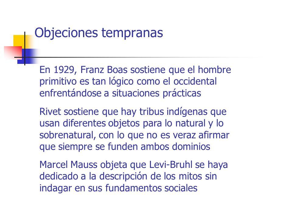 Objeciones tempranas En 1929, Franz Boas sostiene que el hombre primitivo es tan lógico como el occidental enfrentándose a situaciones prácticas Rivet