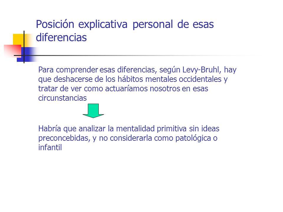 Posición explicativa personal de esas diferencias Para comprender esas diferencias, según Levy-Bruhl, hay que deshacerse de los hábitos mentales occid