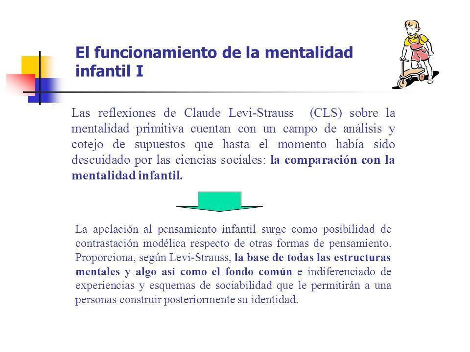 El funcionamiento de la mentalidad infantil I Las reflexiones de Claude Levi-Strauss (CLS) sobre la mentalidad primitiva cuentan con un campo de análi