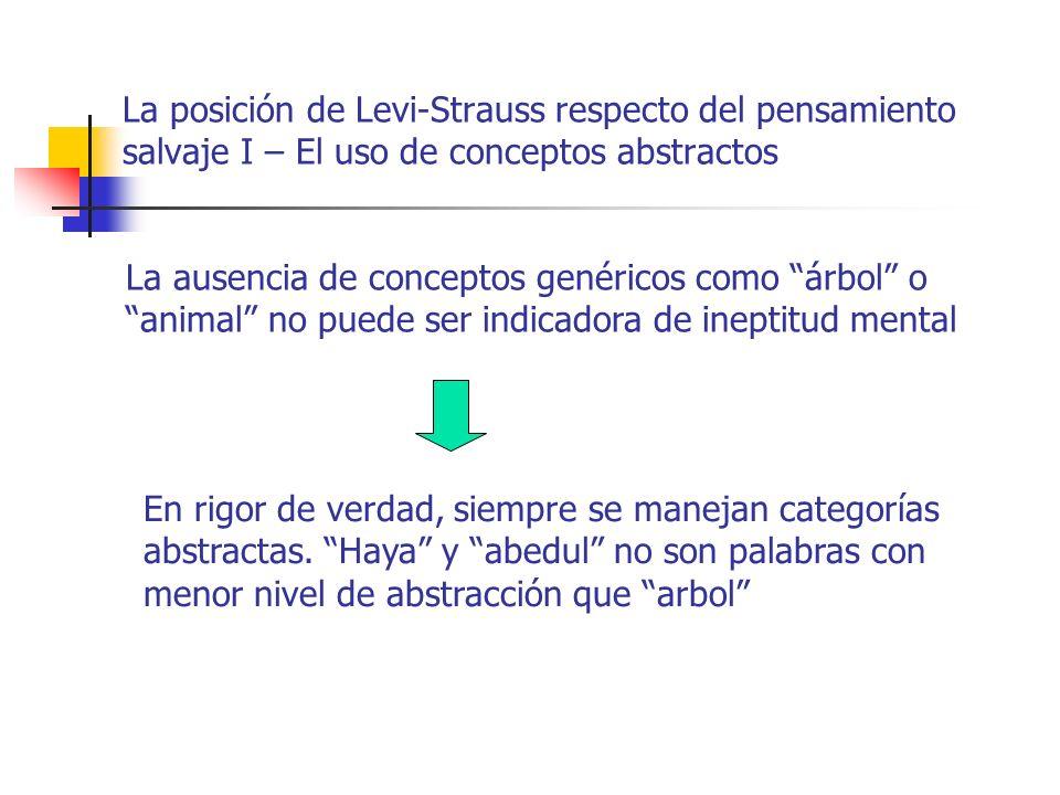 La posición de Levi-Strauss respecto del pensamiento salvaje I – El uso de conceptos abstractos La ausencia de conceptos genéricos como árbol o animal