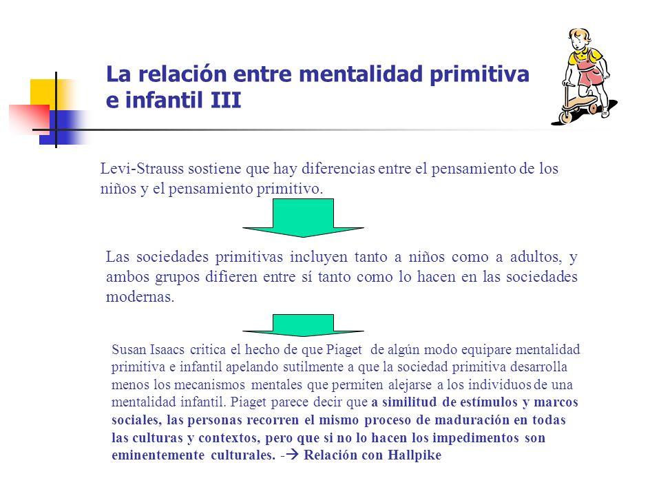 La relación entre mentalidad primitiva e infantil III Levi-Strauss sostiene que hay diferencias entre el pensamiento de los niños y el pensamiento pri