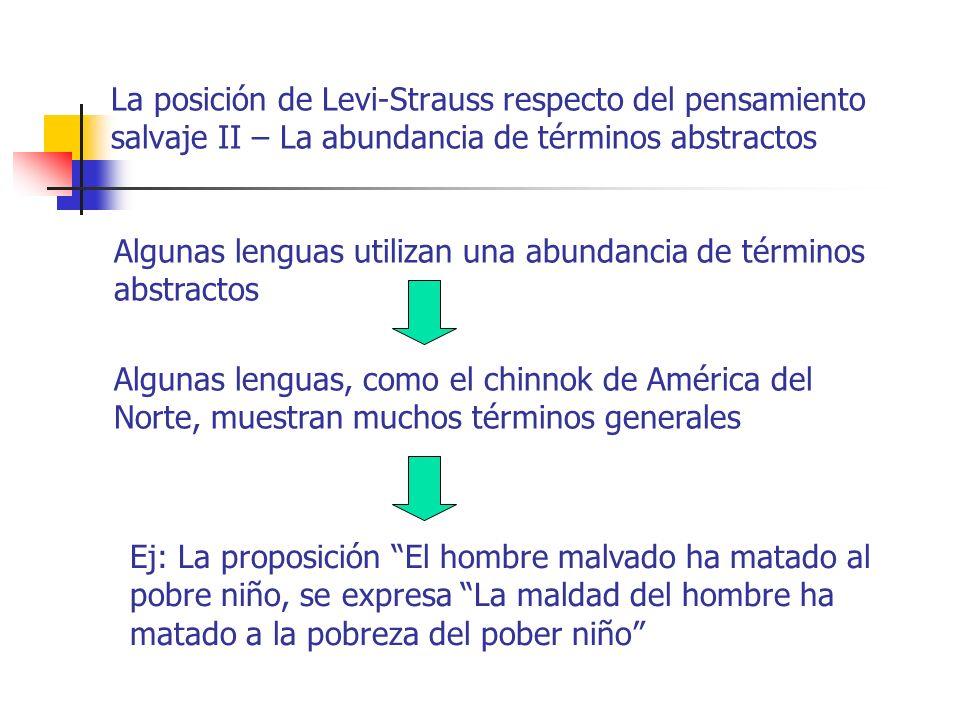 La posición de Levi-Strauss respecto del pensamiento salvaje II – La abundancia de términos abstractos Algunas lenguas utilizan una abundancia de térm