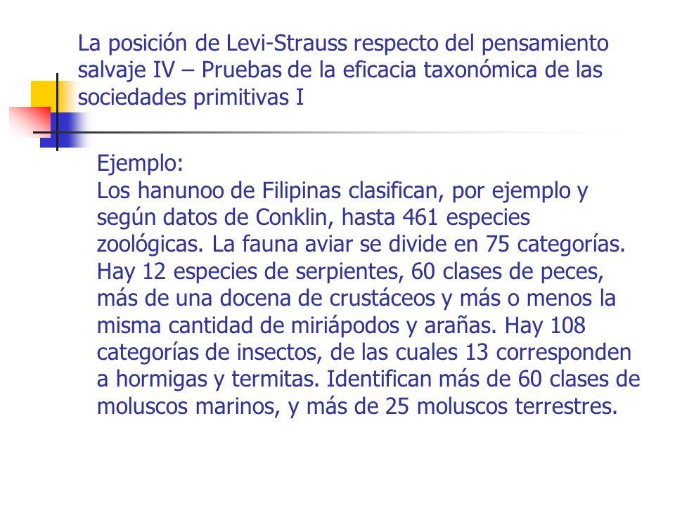 La posición de Levi-Strauss respecto del pensamiento salvaje IV – Pruebas de la eficacia taxonómica de las sociedades primitivas II El léxico botánico de los subanum, del sur de Filipinas, es mayor a los 1000 términos.