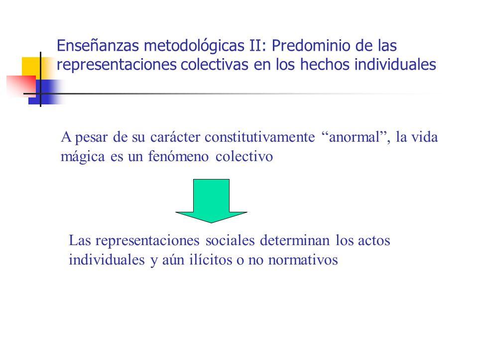 Enseñanzas metodológicas II: Predominio de las representaciones colectivas en los hechos individuales A pesar de su carácter constitutivamente anormal