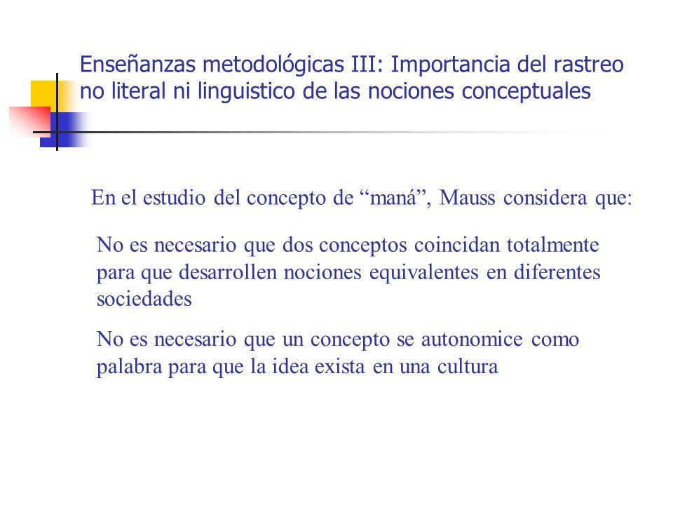 Enseñanzas metodológicas III: Importancia del rastreo no literal ni linguistico de las nociones conceptuales En el estudio del concepto de maná, Mauss