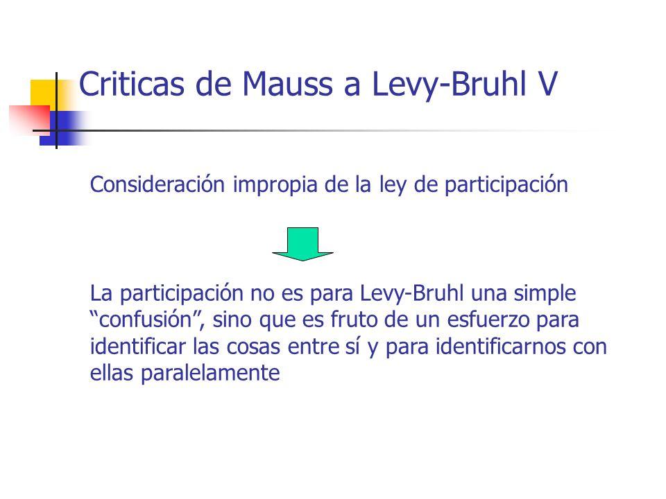Criticas de Mauss a Levy-Bruhl V Consideración impropia de la ley de participación La participación no es para Levy-Bruhl una simple confusión, sino q