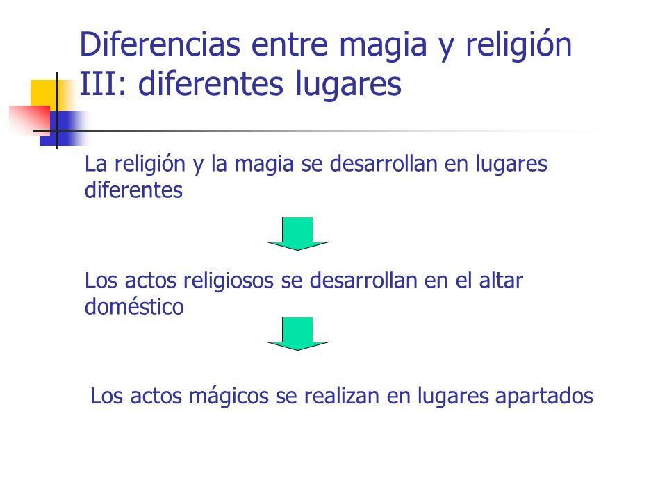Diferencias entre magia y religión III: diferentes lugares La religión y la magia se desarrollan en lugares diferentes Los actos religiosos se desarro
