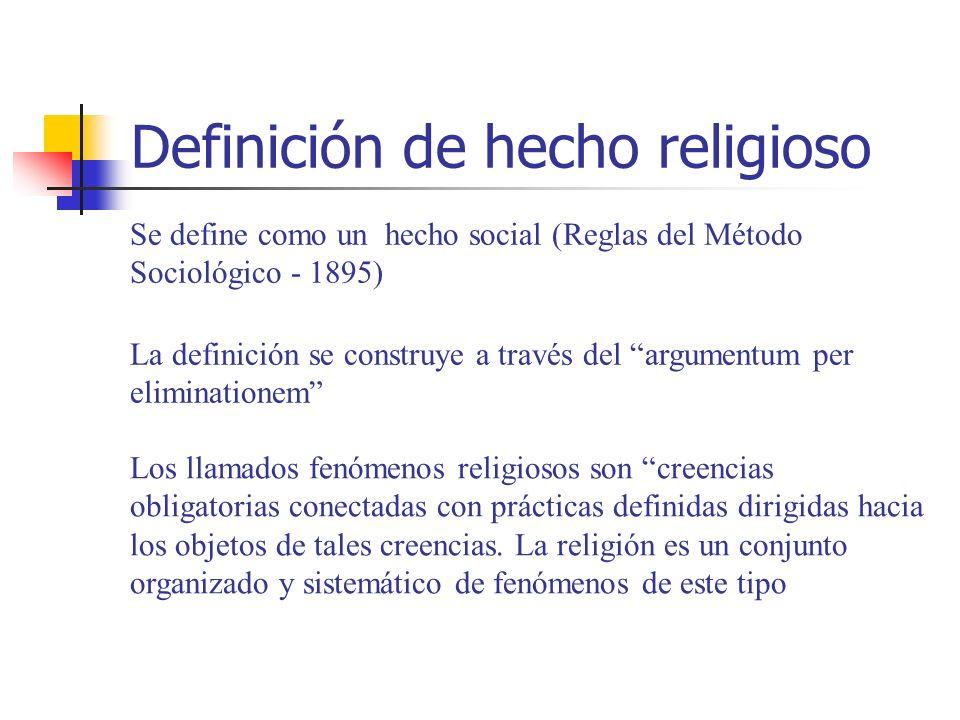 Definición de hecho religioso Se define como un hecho social (Reglas del Método Sociológico - 1895) La definición se construye a través del argumentum