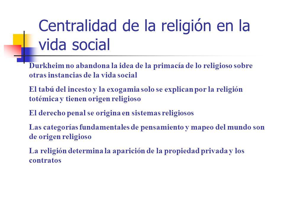 Centralidad de la religión en la vida social Durkheim no abandona la idea de la primacía de lo religioso sobre otras instancias de la vida social El t
