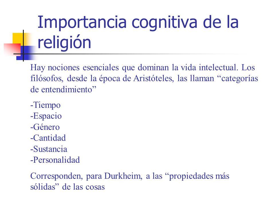 Importancia cognitiva de la religión Hay nociones esenciales que dominan la vida intelectual. Los filósofos, desde la época de Aristóteles, las llaman