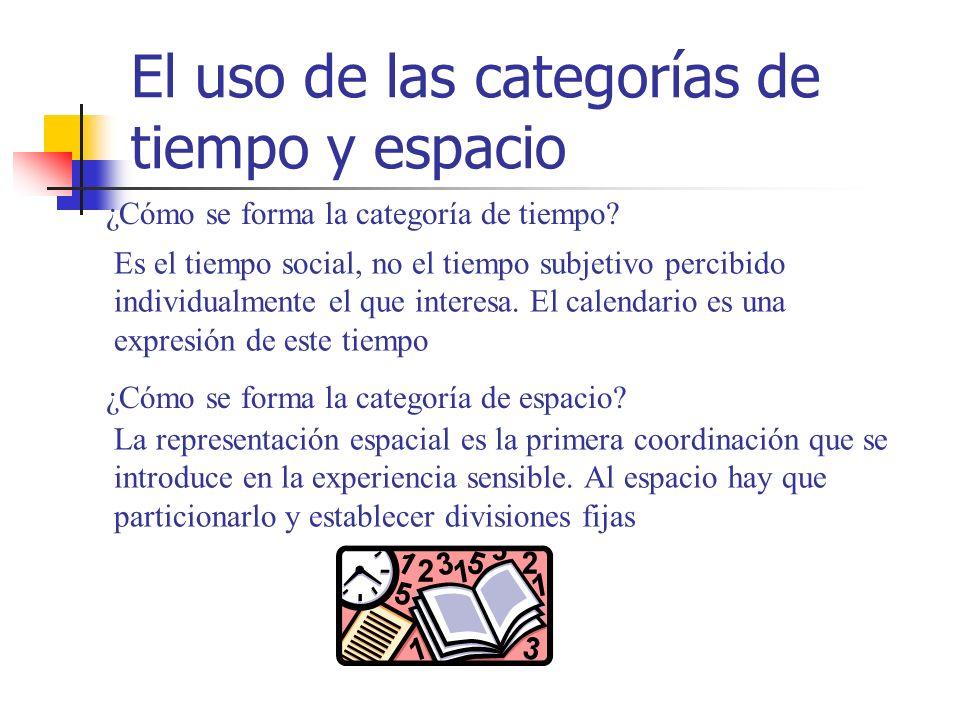 El uso de las categorías de tiempo y espacio ¿Cómo se forma la categoría de tiempo? Es el tiempo social, no el tiempo subjetivo percibido individualme