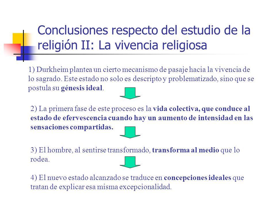 Conclusiones respecto del estudio de la religión II: La vivencia religiosa 1) Durkheim plantea un cierto mecanismo de pasaje hacia la vivencia de lo s