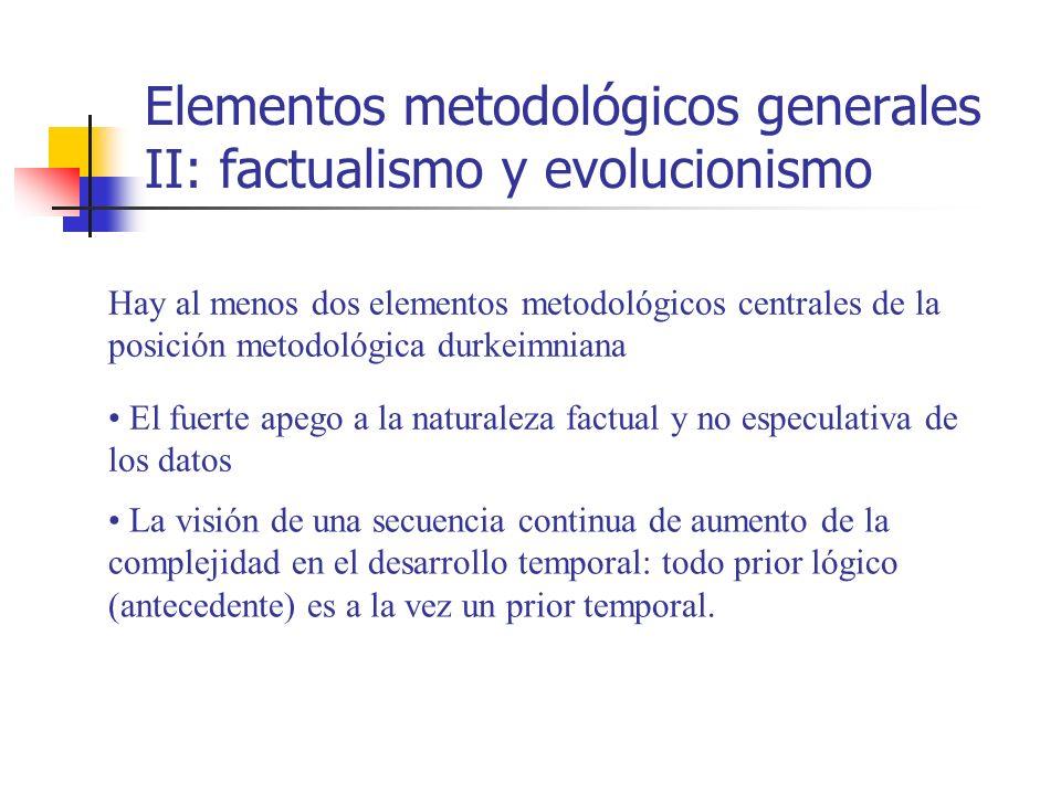 Elementos metodológicos generales II: factualismo y evolucionismo Hay al menos dos elementos metodológicos centrales de la posición metodológica durke