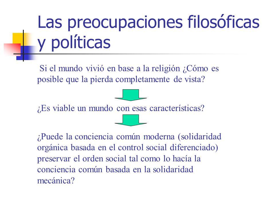 Las preocupaciones filosóficas y políticas ¿Es viable un mundo con esas características? Si el mundo vivió en base a la religión ¿Cómo es posible que