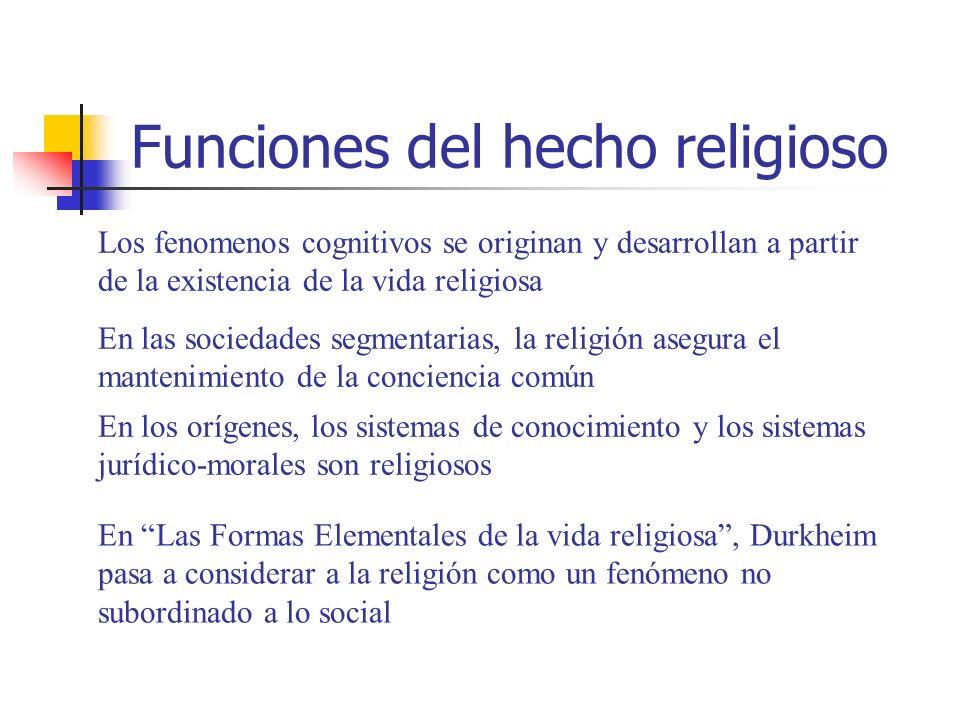 Funciones del hecho religioso En las sociedades segmentarias, la religión asegura el mantenimiento de la conciencia común En los orígenes, los sistema