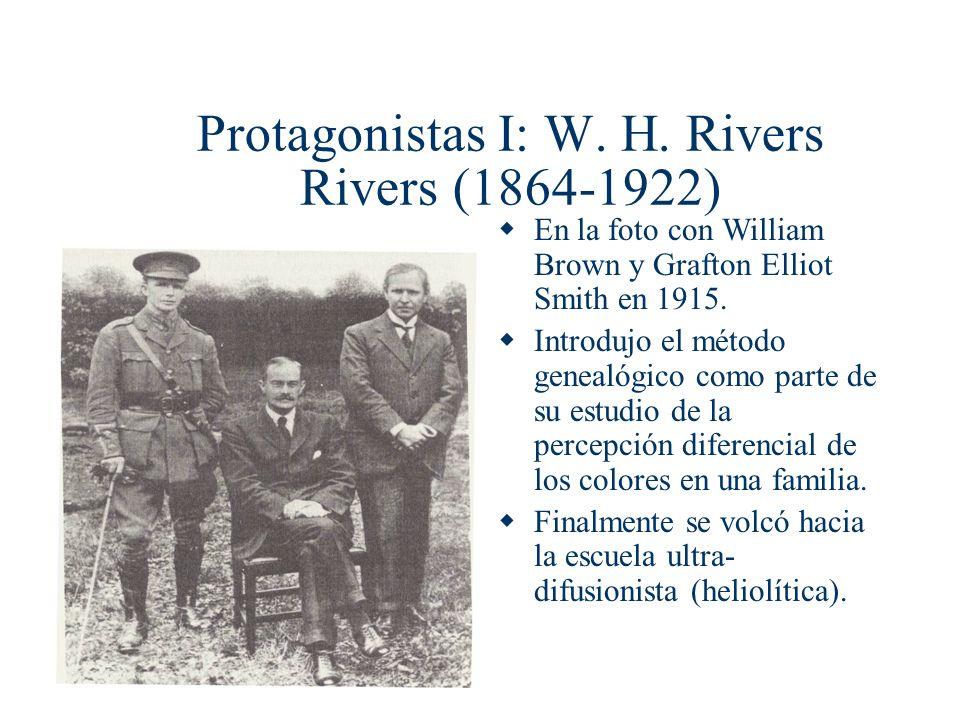 En la foto con William Brown y Grafton Elliot Smith en 1915. Introdujo el método genealógico como parte de su estudio de la percepción diferencial de