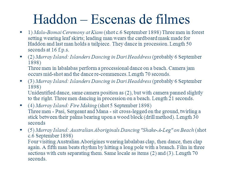 Haddon – Escenas de filmes 1) Malu-Bomai Ceremony at Kiam (shot c.6 September 1898) Three men in forest setting wearing leaf skirts; leading man wears