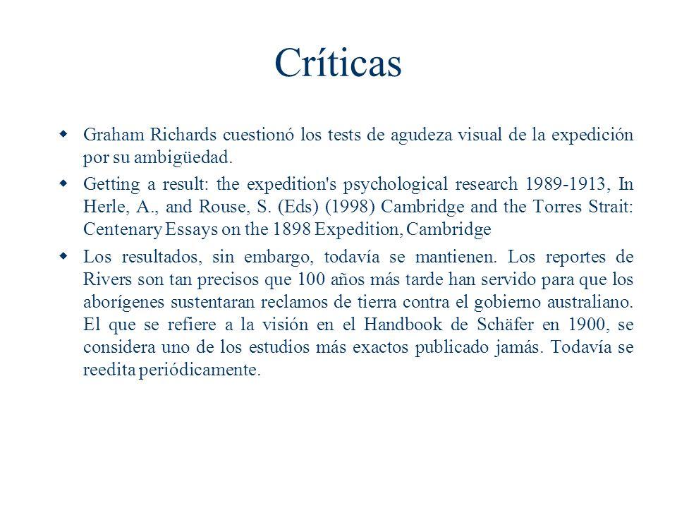 Críticas Graham Richards cuestionó los tests de agudeza visual de la expedición por su ambigüedad. Getting a result: the expedition's psychological re
