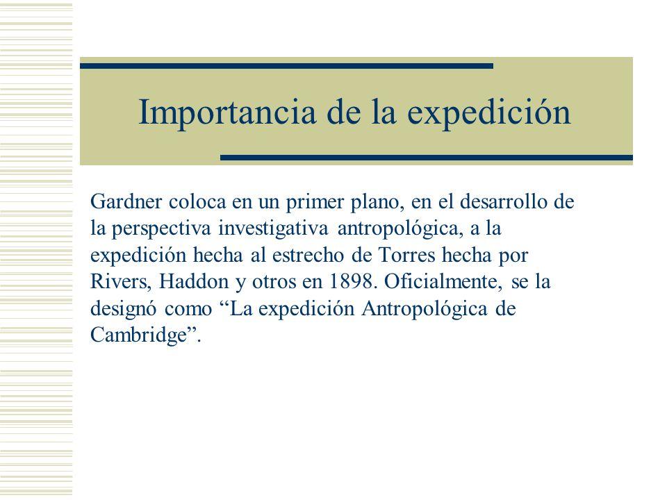 Importancia de la expedición Gardner coloca en un primer plano, en el desarrollo de la perspectiva investigativa antropológica, a la expedición hecha
