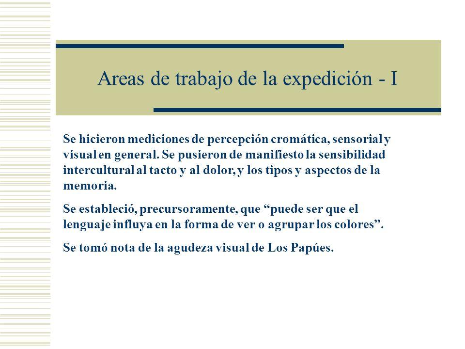 Areas de trabajo de la expedición - I Se hicieron mediciones de percepción cromática, sensorial y visual en general. Se pusieron de manifiesto la sens