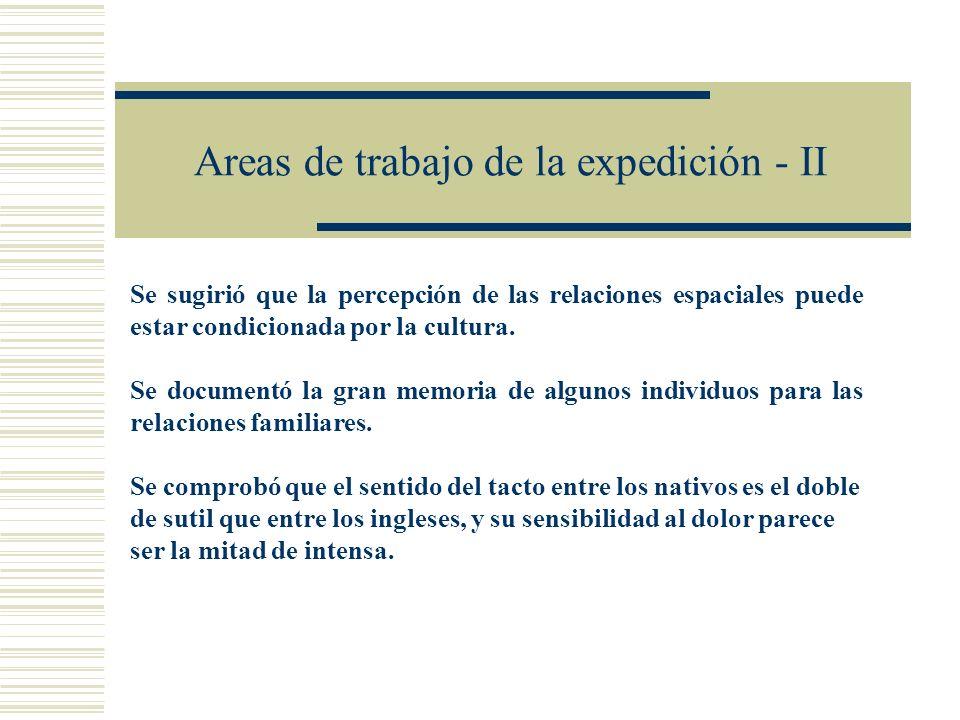 Areas de trabajo de la expedición - II Se sugirió que la percepción de las relaciones espaciales puede estar condicionada por la cultura. Se documentó