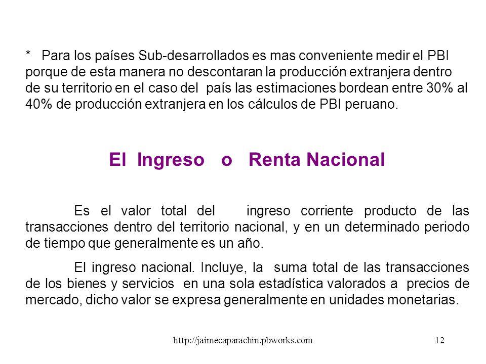 http://jaimecaparachin.pbworks.com11 El Producto Nacional Bruto ( PNB ) Mide el valor total de la producción corriente de Bs y Ss finales de los ciuda