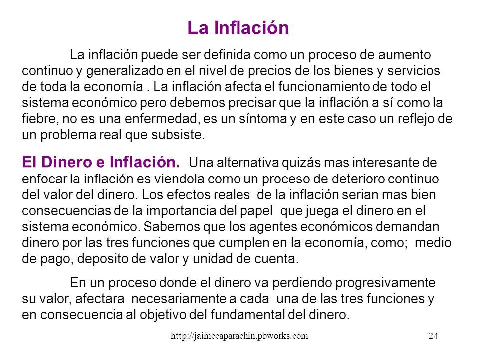 http://jaimecaparachin.pbworks.com23 Niveles de Dinero según su Liquidez 1.C = Circulante = Billetes y Monedas 2.M1 = C + Depósito a la vista (cta. ct