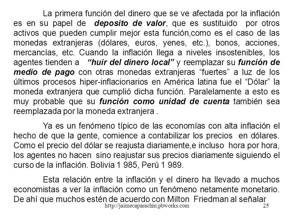 http://jaimecaparachin.pbworks.com24 La Inflación La inflación puede ser definida como un proceso de aumento continuo y generalizado en el nivel de pr