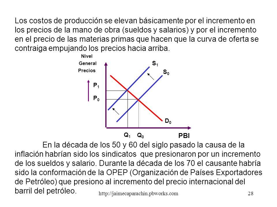 http://jaimecaparachin.pbworks.com27 Un incrementos en la masa monetaria produce una presión en la demanda agregada que se expande y que termina empuj