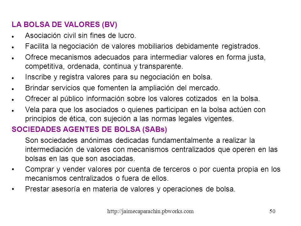 http://jaimecaparachin.pbworks.com49 LAS PRINCIPALES INSTITUCIONES DE LA INTERMEDIACIÓN FINANCIERA DIRECTA LA CONASEV. Es una Institución gubernamenta