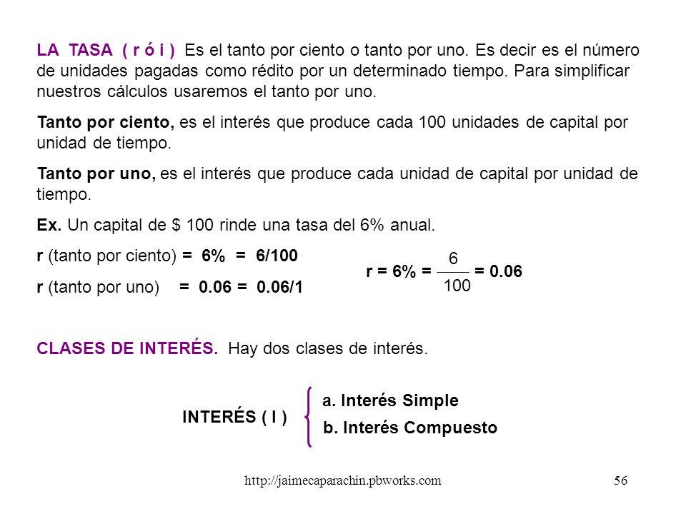 http://jaimecaparachin.pbworks.com55 EL INTERÉS Es el costo por el uso del dinero en el tiempo. Toda la basta maquinaria del sistema de intermediación
