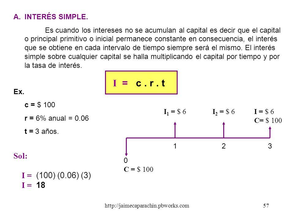 http://jaimecaparachin.pbworks.com56 LA TASA ( r ó i ) Es el tanto por ciento o tanto por uno. Es decir es el número de unidades pagadas como rédito p