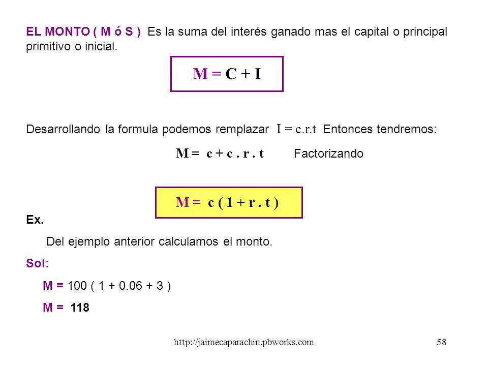 http://jaimecaparachin.pbworks.com57 A.INTERÉS SIMPLE. Es cuando los intereses no se acumulan al capital es decir que el capital o principal primitivo