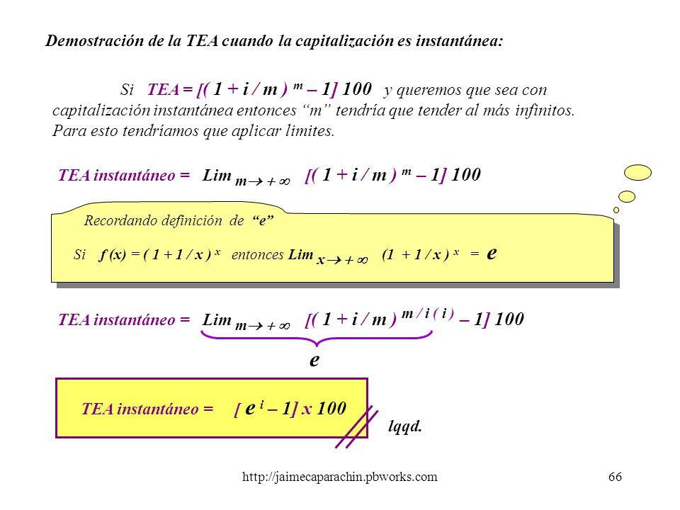 http://jaimecaparachin.pbworks.com65 Para visualizar con mayor claridad el concepto de TEA obtenida a partir de una tasa nominal anual con diferentes