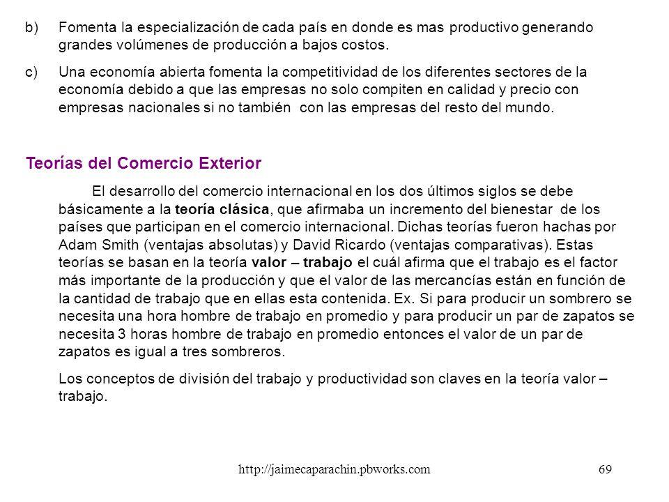 http://jaimecaparachin.pbworks.com68 EL COMERCIO INTERNACIONAL - Es el libre intercambio de mercancías que se realiza entre un país y el resto del mun