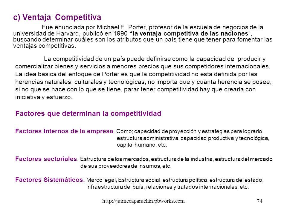 http://jaimecaparachin.pbworks.com73 País Producción consumo antes de la especialización Producción después de la especialización Cantidades Exportada