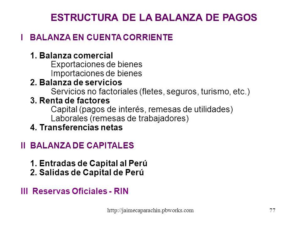 http://jaimecaparachin.pbworks.com76 LA BALANZA DE PAGOS Es el registro sistemático donde se contabiliza el conjunto de transacciones económicas ocurr