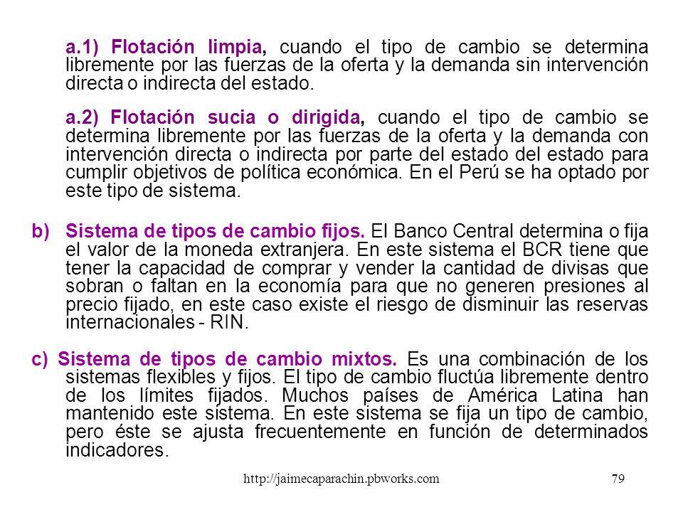 http://jaimecaparachin.pbworks.com78 TIPO DE CAMBIO Es el precio de la moneda extranjera expresado en términos de otra (local). Se compran y venden mo