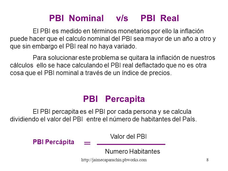 http://jaimecaparachin.pbworks.com7 3. Método del ingreso : El PBI también puede ser calculado como la suma de todas las compras finales en la economí