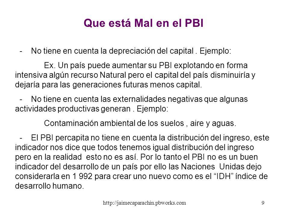 http://jaimecaparachin.pbworks.com8 PBI Nominal v/s PBI Real El PBI es medido en términos monetarios por ello la inflación puede hacer que el calculo
