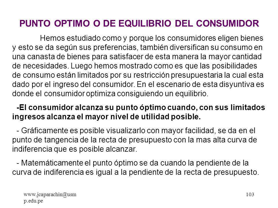 www.jcaparachin@usm p.edu.pe 102 b )El Impuesto Selectivo al Consumo: Existen diferentes tasas que van desde el 10% hasta el 45%.