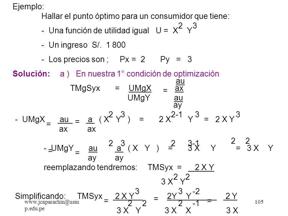 www.jcaparachin@usm p.edu.pe 104 m C.I = m R.P pero m C.I = - TMSyx Y m R.P = - PX/PY Px Py TMgSyx Px Py Pero la TMgSyx = UMgX / UMgY = = Condición de equilibrio E Max.