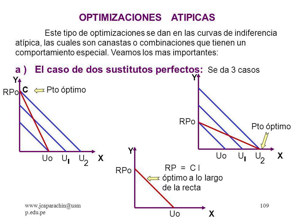 www.jcaparachin@usm p.edu.pe 108 Ejercicios para la casa: 2 - Dado lo siguiente hallar el equilibrio: U = X Y Y = 2X R.P I = S/.