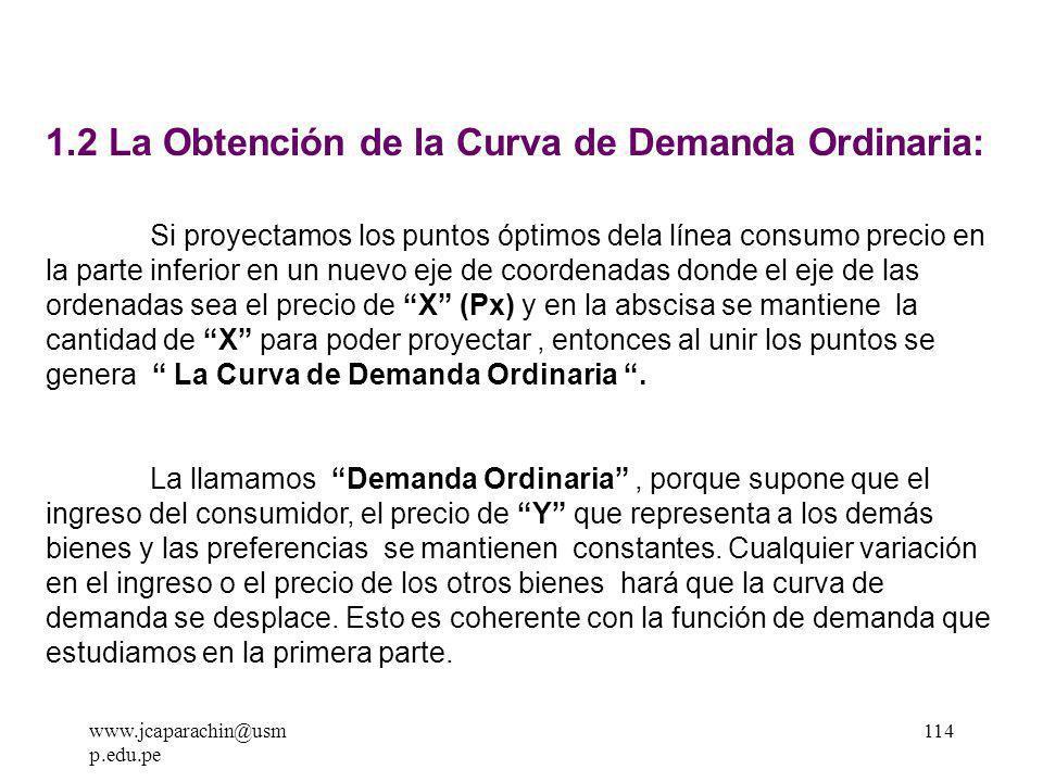 www.jcaparachin@usm p.edu.pe 113 GRAFICO DE LA LINEA CONSUMO PRECIO Línea Consumo-Precio bien X bien Y Px 0 Px 1 Px 2 Px ( Py, I ) PX 2 > Px 1 > Px 0 I0I0 I0I0 I0I0