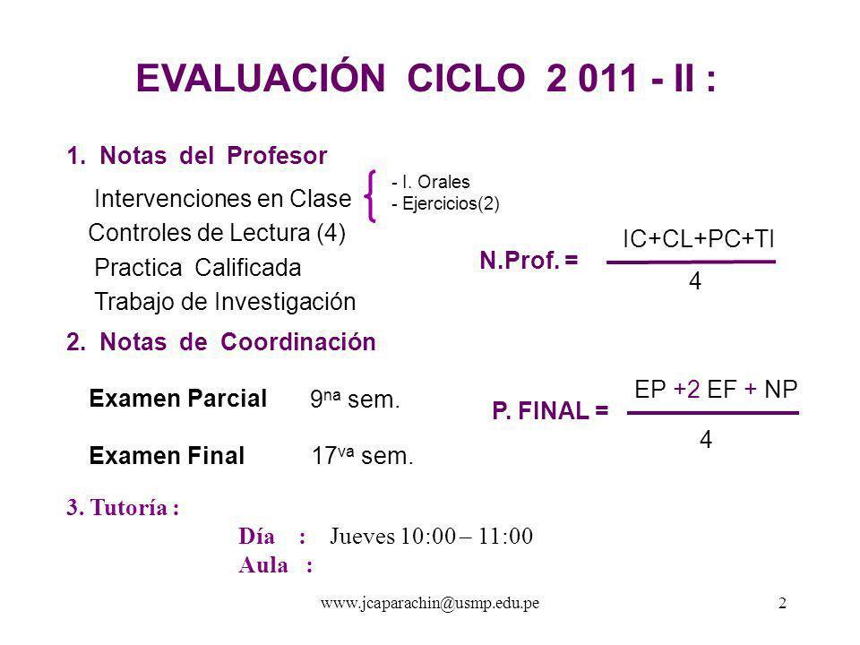 www.jcaparachin@usm p.edu.pe 1 Facultad de Ingeniería y Arquitectura M I C R O E C O N O M Í A Semestre : 2 011- II C i c l o : II Profesor: Econ.