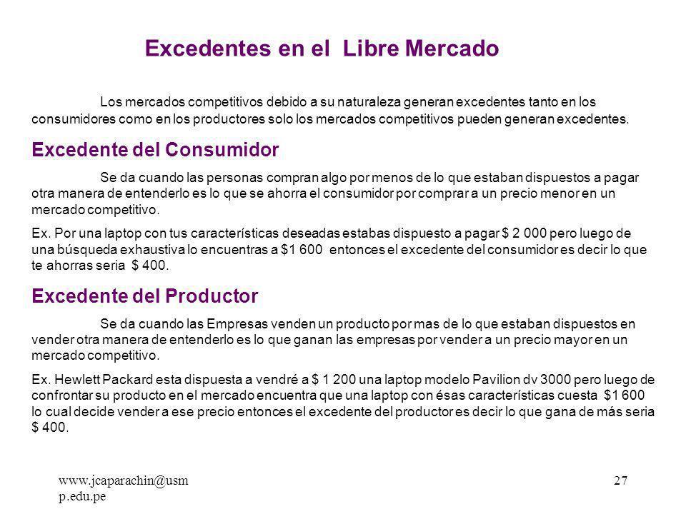 www.jcaparachin@usm p.edu.pe 26 Px X D Pe* Xe* S E Excedente del Consumidor Excedente del Productor EXCEDENTES EN EL LIBRE MERCADO Costo de producción Costo de Producción