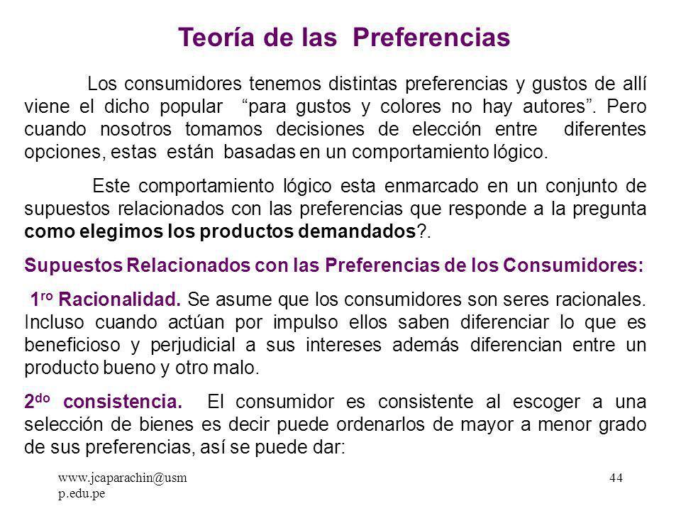 www.jcaparachin@usm p.edu.pe 43 TEORÍA DEL CONSUMIDOR