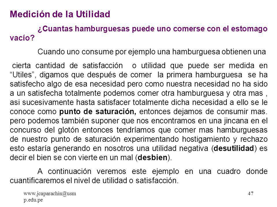 www.jcaparachin@usm p.edu.pe 46 Teoría de la Utilidad Ante la pregunta de porque los consumidores demandan bienes y servicios.