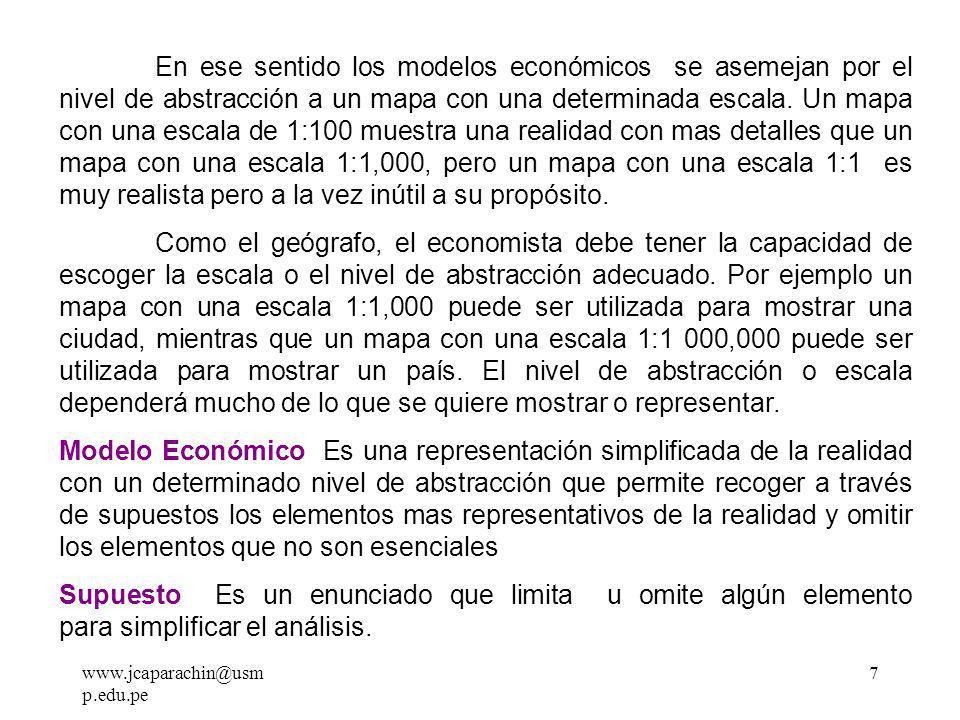 www.jcaparachin@usm p.edu.pe 6 EL ANÁLISIS POSITIVO Puedo afirmar con certeza que para los que principian el estudio de la economía les parecerá difícil de entender que la economía sea una ciencia, después de todo nosotros los economistas no trabajamos con aparatos sofisticados o dentro de un laboratorio.